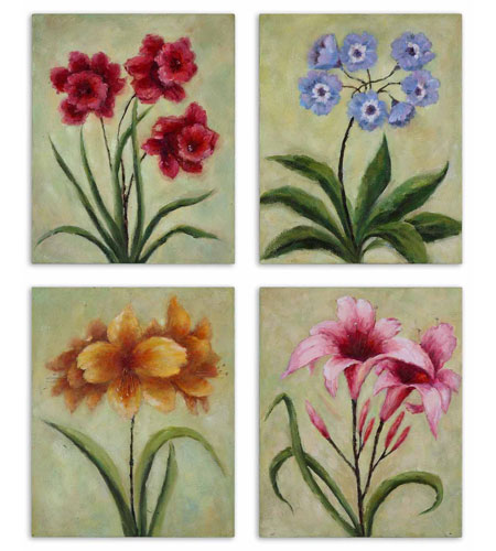 Uttermost Fun Time Florals Set of 4 Art 32207 photo