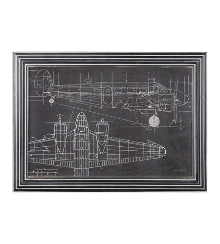 Uttermost 36200 Plane Blueprint Light Gray Wash Blueprint Wall Art