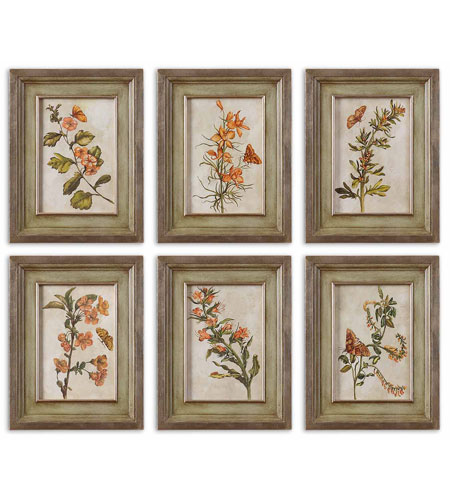 Uttermost 41258 Orange Florals I n/a Wall Art