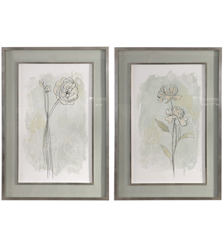 Uttermost 41582 Stone Flower Study 40 X 28 inch Floral Prints, Set of 2 photo