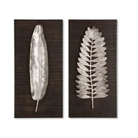 Silver Leaves Distressed Dark Ebony Stain Metal Wall Art