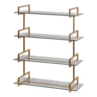 Auley 32 inch Antiqued Gold Leaf Wall Mounted Shelves