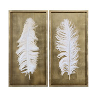 White Feathers Gold Shadow Boxes, Set of 2