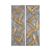 Falling Feathers Gold Wall Art
