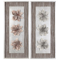 Adrienn Silver Leaf with Blush and Gray Shadow Box, Set of 2, Foliage