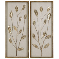 Branching Out Gilded Gold Leaf and Oatmeal Linen Wall Art