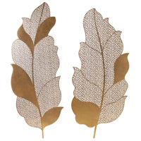 Autumn Lace Antique Brushed Gold Wall Art, Set of 2