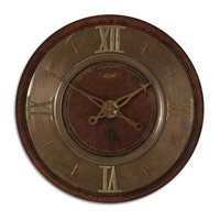 Uttermost 1896 Clock in Lightly Distressed Mahogany 06002