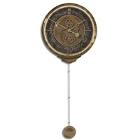 Uttermost Leonardo Chronograph Black Clock in Weathered Laminated Clock Face 06003