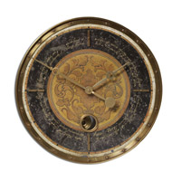 Uttermost Leonardo Script Black Clock in Weathered Laminated Clock Face 06005