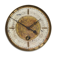Uttermost Leonardo Script Cream Clock in Weathered Laminated Clock Face 06006