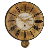 Uttermost Louis Leniel Clock in Weathered Laminated Clock Face 06034