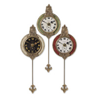 Uttermost Monarch Set of 3 Clock in Weathered Laminated Clock Face 06046