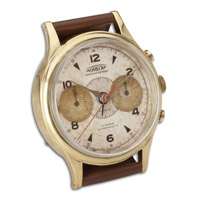 Wristwatch Alarm Round Aureole Brass Rim with Leather Stand Clock