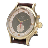Uttermost Wristwatch Alarm Round Imperial Clock in Brass Rim with Leather Stand 06073