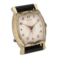 Wristwatch Alarm Square Grene Brass Rim with Leather Stand Clock