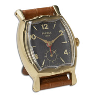 Wristwatch Alarm Square Pierce Brass Rim with Leather Stand Clock