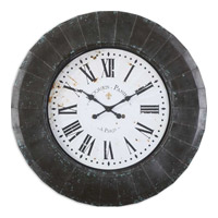 Uttermost Peronell Clock in Rustic Black 06078
