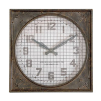 Uttermost Warehouse Wall Clock w/ Grill in Mottled Rust Brown 06083