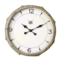 Rope Snare Distressed Ivory Wall Clock