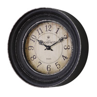Uttermost Melania Wall Clock in Aged Black, Crackled Cream 06435