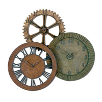 Uttermost Rusty Gears Clock in Distressed Red Rust Brown Rust & Sage Green Rust 06731