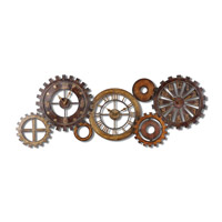 Uttermost Spare Parts Clock in Dark Chestnut Brown & Antiqued Gold And Silver 06788