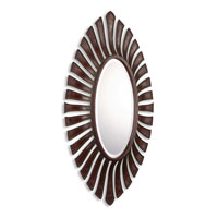 Uttermost 07589 Noah Oval 42 X 23 inch Lightly Distressed Mahogany Red Wall Mirror thumb