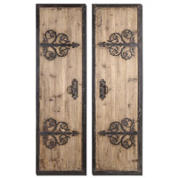 Uttermost Abelardo Panels Set of 2 Mirrors in Lightly Stained Rustic Wood 07630