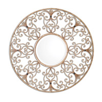 Santena 39 X 39 inch Hand Forged Metal Round Mirror Home Decor
