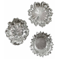 Uttermost Silver Flowers Set of 3 Metal Wall Art in Silver Plated Flower Designs Accented 08503