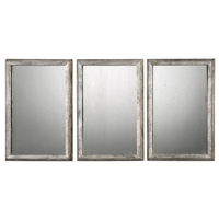 Alcona 20 X 14 inch Antiqued Burnished Silver Mirror Home Decor, Set of 3