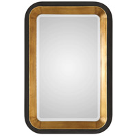 Uttermost 09301 Niva 42 X 28 inch Antiqued Metallic Gold Leaf and Distressed Black Wall Mirror thumb