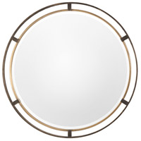 Uttermost 09332 Carrizo 36 X 36 inch Rustic Bronze with Antiqued Gold Wall Mirror