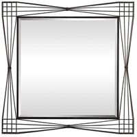 Basha 46 X 46 inch Rustic Black with Light Gray Patina Wall Mirror