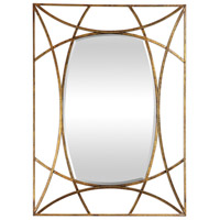 Abreona 43 X 31 inch Antique Metallic Gold Leaf with Aged Black Wall Mirror