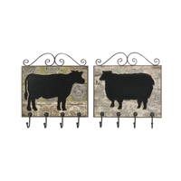 Uttermost Farm Animal Plaques Set of 2 Metal Wall Art in Cow And Sheep Cutouts 10106