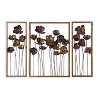 Uttermost Metal Tulips Set of 3 Mirror in Antiqued Gold Leaf 12785