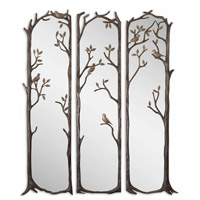 Uttermost Perching Birds Set of 3 Mirror in Heavily Antiqued Silver Leaf 12788