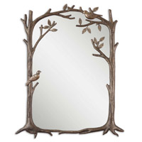 Uttermost Perching Birds Small Mirror in Heavily Antiqued Silver Leaf 12789