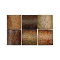 Uttermost Klum Collage Set of 6 Wood Wall Art in Tones Of Red Yellow Aged Green Rust Brown Gray 13355