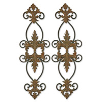 Uttermost Lacole Set of 2 Metal Wall Art in Distressed Rust Brown And Aged Black 13387