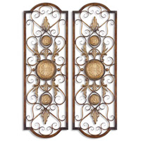 Micayla Distressed Chestnut Brown Metal Wall Art