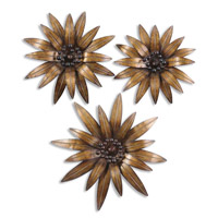 Uttermost Golden Gazanias Set of 3 Metal Wall Art in Heavily Antiqued Gold Leaf 13479