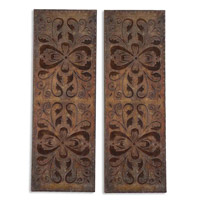 Uttermost Alexia Panels Set of 2 Metal Wall Art in Heavily Antiqued Rust Brown 13643