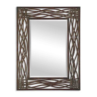 Uttermost 13707 Dorigrass 42 X 32 inch Distressed Mocha Brown Forged Metal Mirror Home Decor photo thumbnail