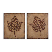 Uttermost Decorative Leaves Set of 2 Metal Wall Art in Antiqued Beige Stucco 13732 photo thumbnail