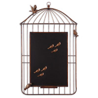 Uttermost Bird Cage Chalkboard Metal Wall Art in Heavily Antiqued Golden Bronze 13757