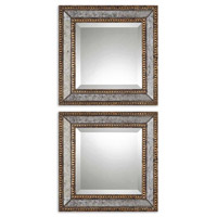 Uttermost Norlina Squares Set of 2 Mirror in Heavily Antiqued Gold Leaf 13790