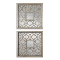 Uttermost Sorbolo Squares Set of 2 Mirror in Antiqued Silver Leaf 13808